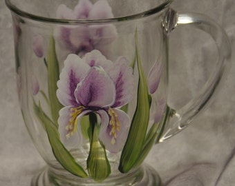 Hand painted, Misc. Flowers, Glass Mugs
