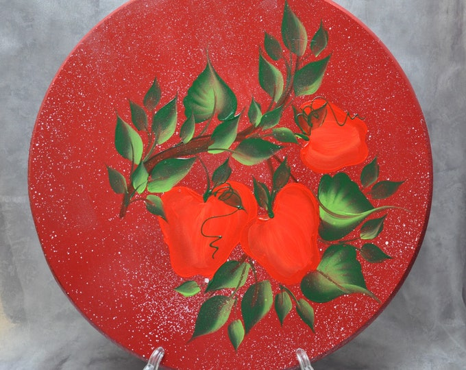"""15"""" Hand painted wood lazy susan, Apples, Sunflowers, Blue roses, Parrot, Or Rooster"""