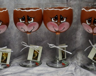 Single, Hand Painted, Gingerbread face wine glass