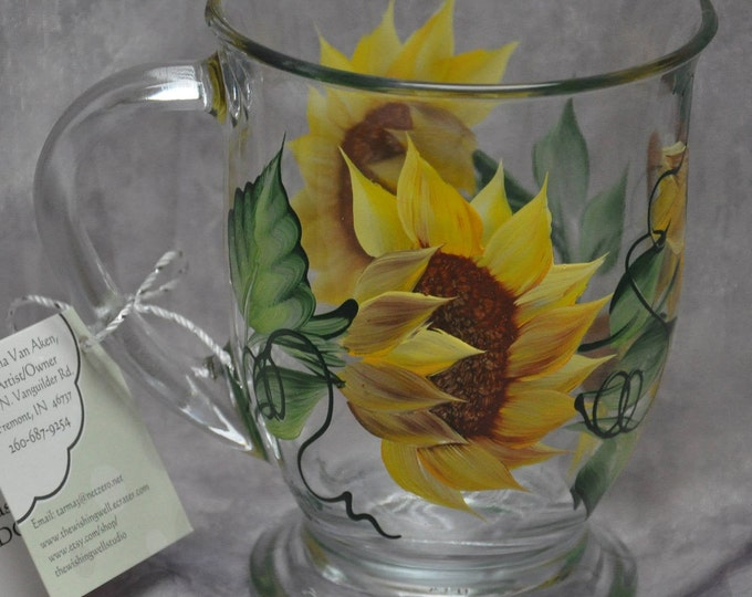 Hand painted, Sunflower, Sweet pea, & Trumpet vine Glass Mugs
