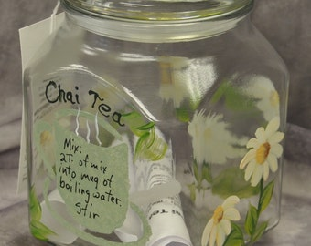 Hand painted, Chai tea storage jar