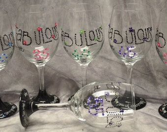 Hand painted Fabulous at ... wine glass