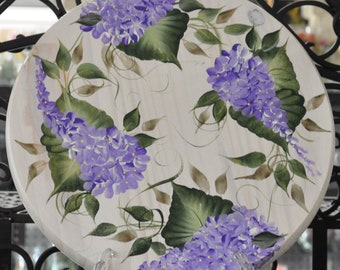 "12"" Hand painted, Choice of Floral, wood lazy susan"