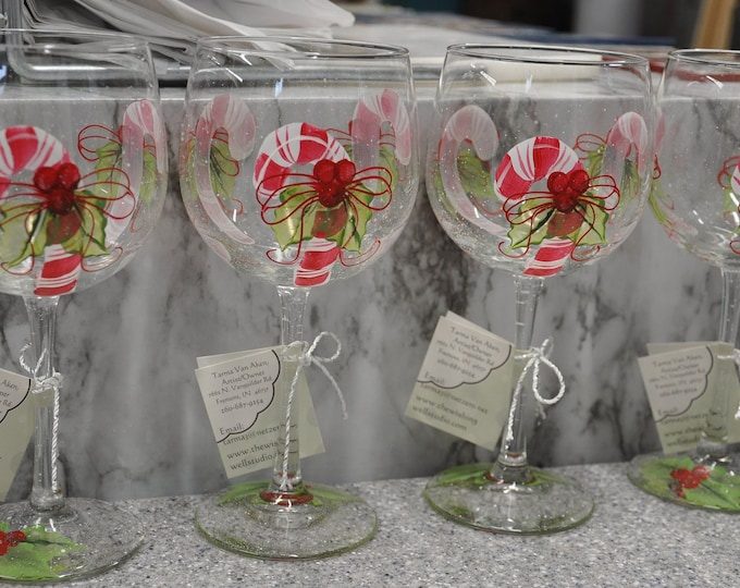 Hand Painted, Candy Cane wine glasses, set of 4