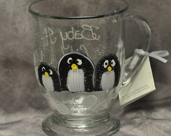 Hand painted Penguin Mug