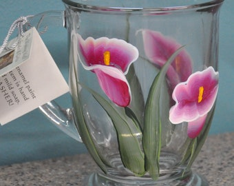 Hand painted, Calla Lily Glass Mugs