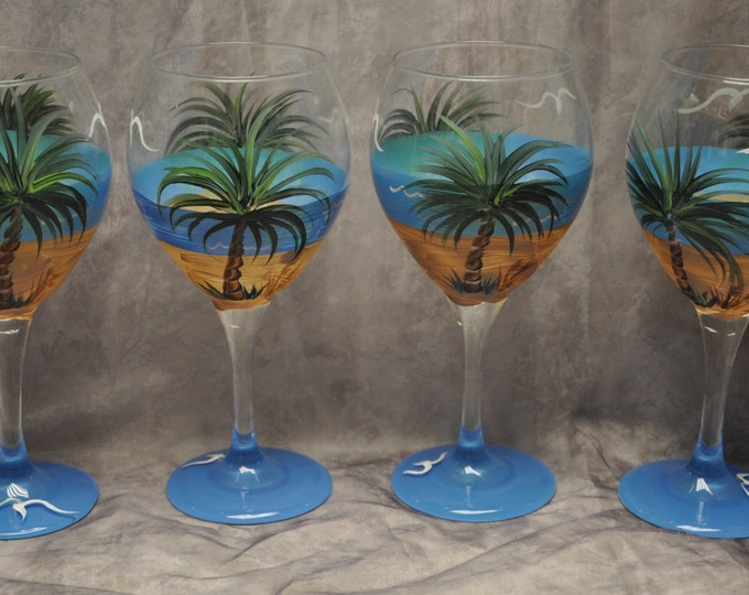 Single, Tropical Palm Beach wine glass