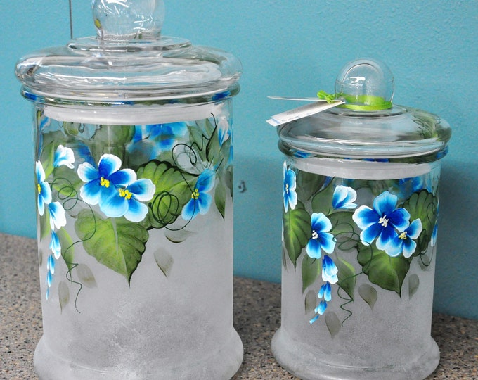 2 Piece Set, Hand Painted Blue flower Canisters