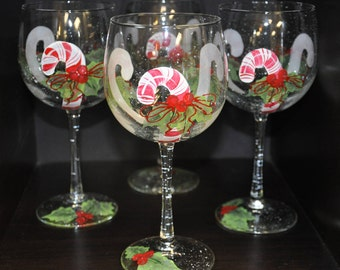 Single, Hand Painted, Candy Cane & Holly wine glass