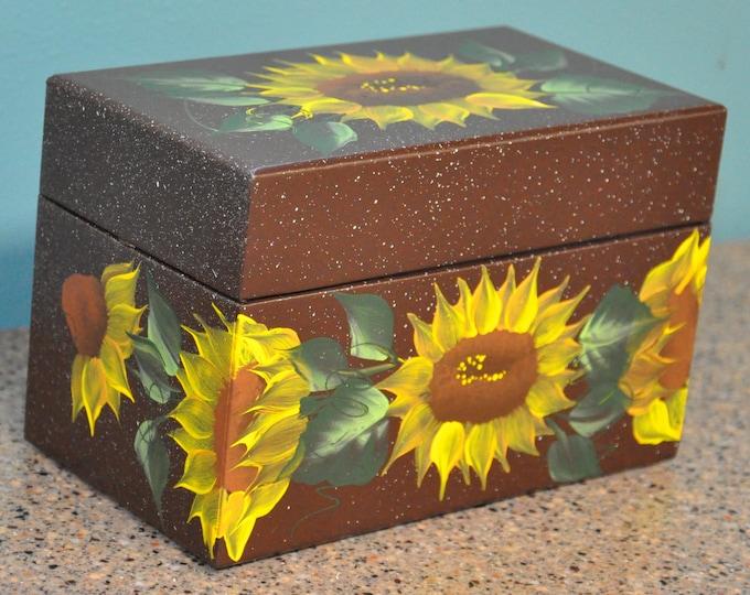 Hand painted Cardboard recipe/address box