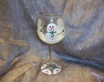 Single , Snowmen wine glass