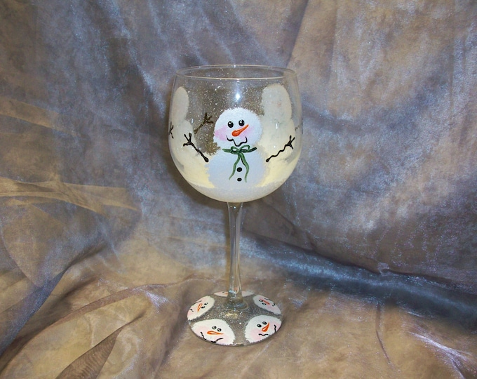 Hand Painted, Snowmen wine glasses, set of 4