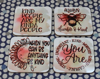 Sublimated Kindness Coasters, set of 4
