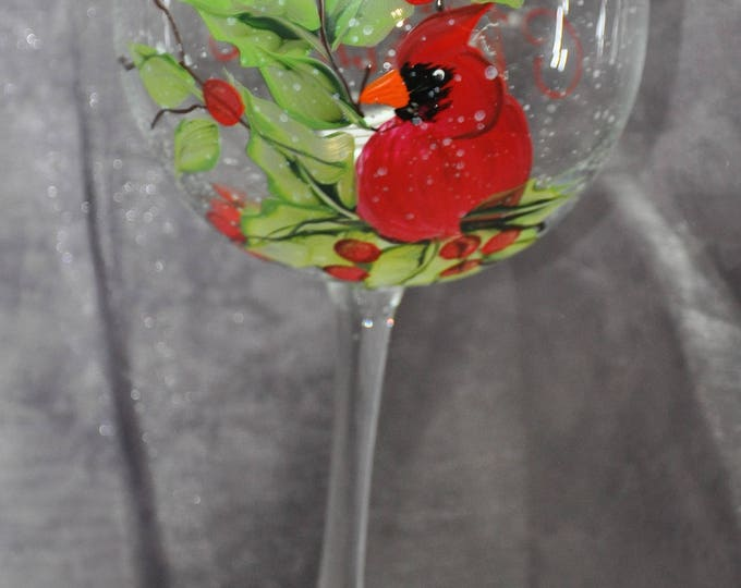 Hand Painted, Cardinal & Holly Berries wine glasses, set of 4