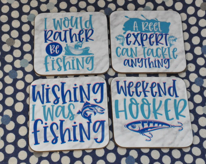 Sublimated Fishing Coasters, set of 4