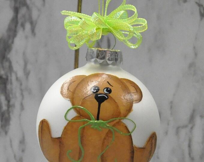 Single,  hand painted Teddy bear ornament