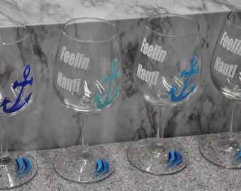 Hand Painted, Feelin' Nauti wine glasses, set of 4