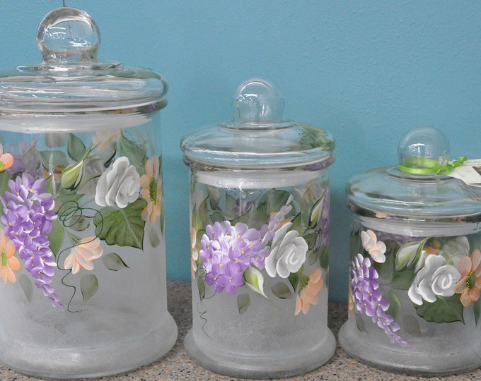 3 Piece Set, Hand Painted Country Floral Canisters