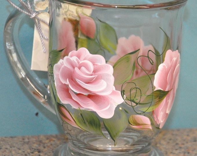 Hand painted, Roses & Rosebuds Glass Mugs