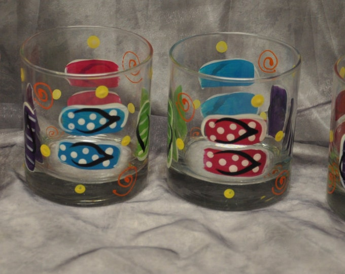 Hand painted, Libbey Heavy base juice tumblers, set of 4