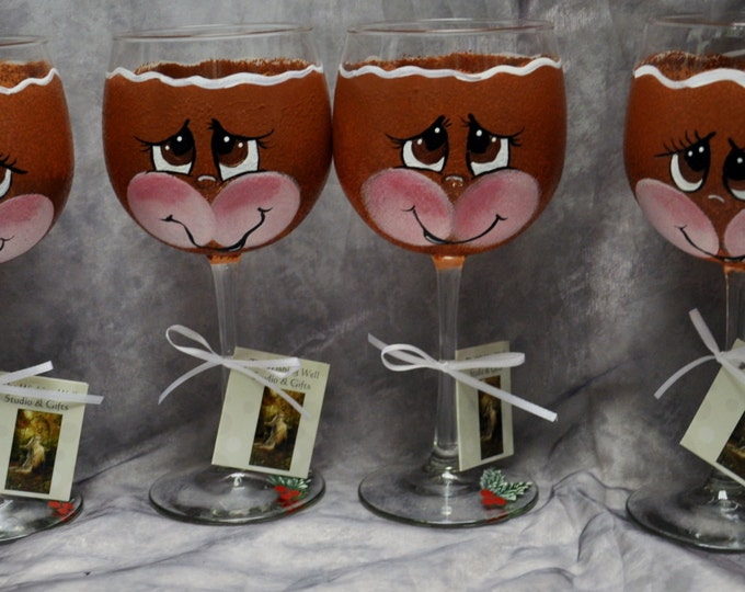 Hand Painted,Gingerbread Face wine glasses, set of 4