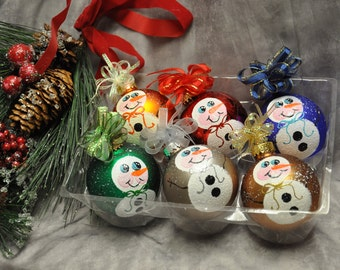 Single,  hand painted Snowman body ornament