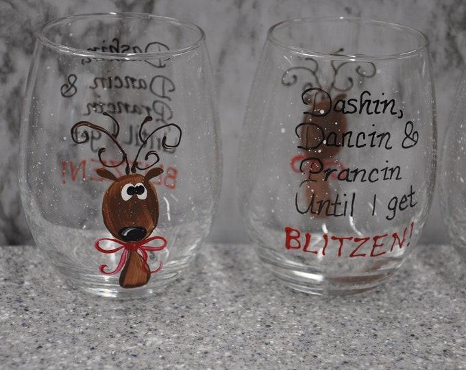 Hand Painted, Reindeer wine glasses, set of 4