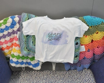 """Sublimation t shirt, """"Chaos Never Looked So Sweet"""""""