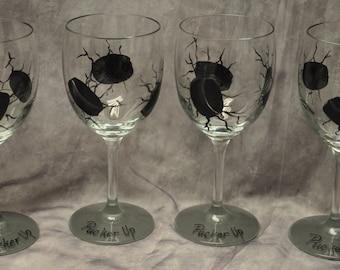 Single, Hand painted Sports Wine Glass
