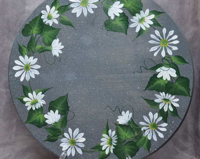 """15"""" Hand painted wood lazy susan, Ivy or Daisies"""