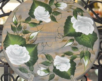 "12"" Hand painted, Rose, wood lazy susan"