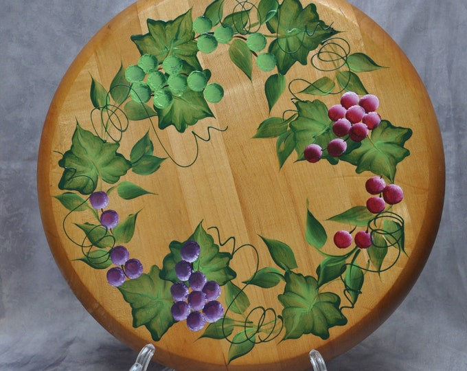 "12"" Hand painted, Choice of Fruit, wood lazy susan"