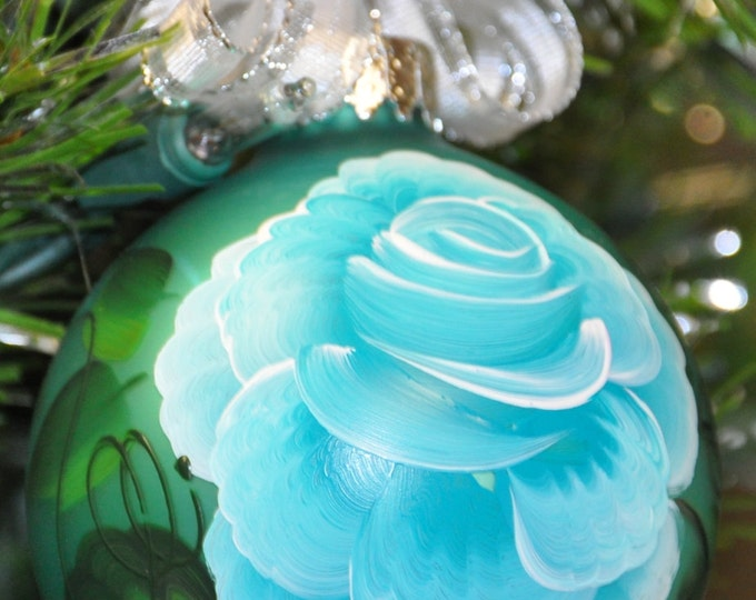 Single,  hand painted Rose ornament
