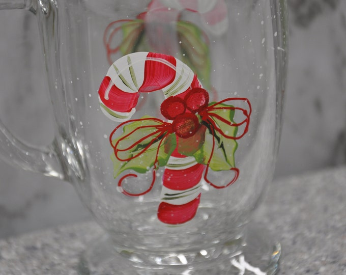 NEW Hand painted Candy cane Mug