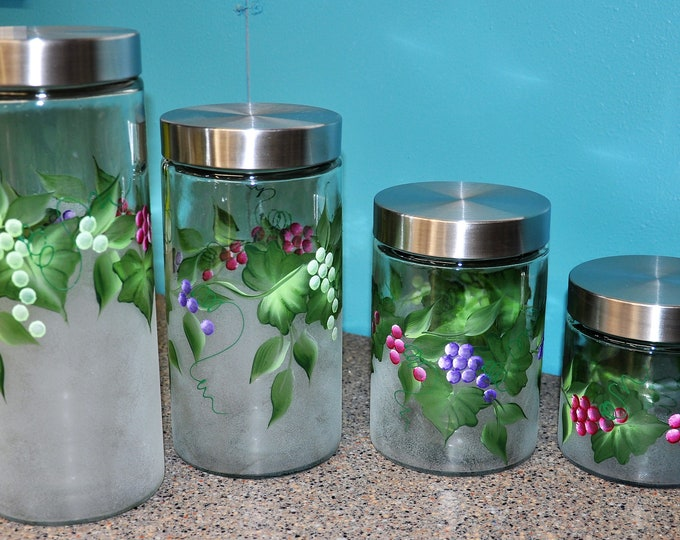 4 Piece Set, Hand Painted Multi colored Grape Canisters