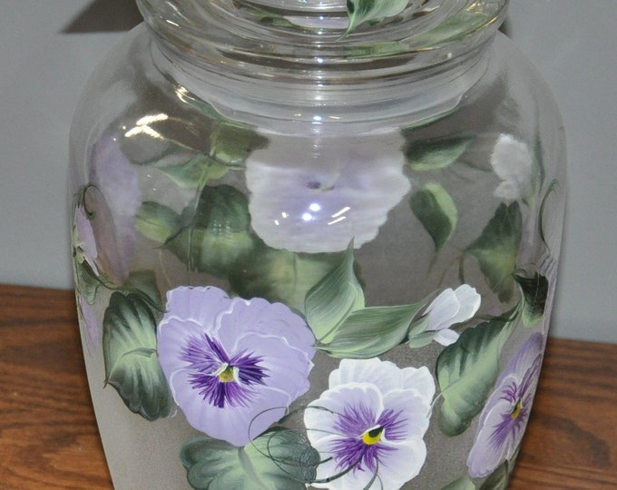Hand painted, Pot belly canister, Pansy, Morning glory, Rose, or Iris