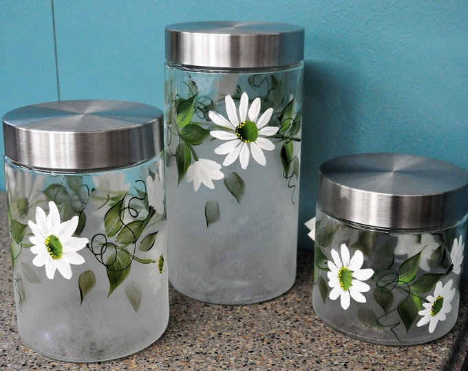 Hand painted, White Daisy Kitchen Canisters, set of 3