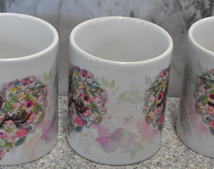 Sublimated Floral Heart Mom Mug