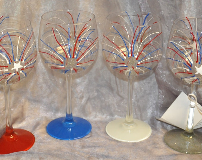 Hand painted Fireworks Wine Glasses