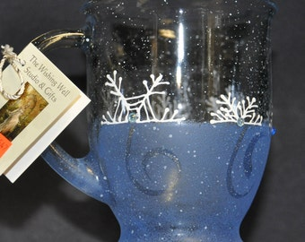 NEW Hand painted Frosted blue Snowflake & Swirls Mug