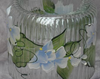 Hand painted, Cut glass votive holder. Lt. blue hydrangea, Yellow rosebuds, white calla lily or johnny jump up.