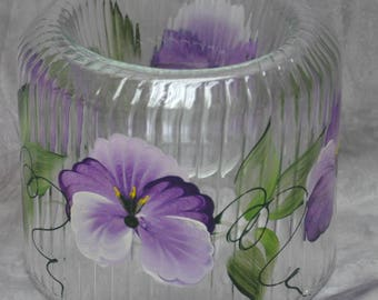 Hand painted, Cut glass votive holder. Violet pansy, Berry Rose or Sunflower Design