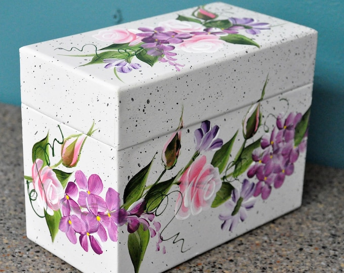 Hand painted Country Floral recipe/address box