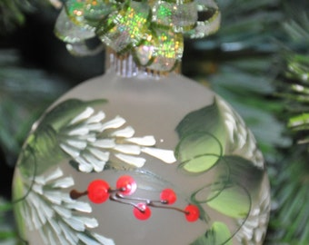Single,  hand painted Pine & Berries ornament
