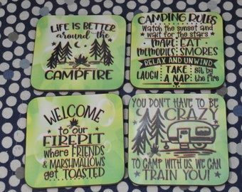 Sublimated Camping Coasters, set of 4
