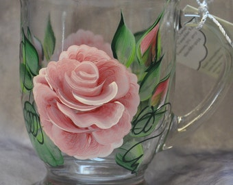Hand painted, Roses & Rosebuds Glass Mugs
