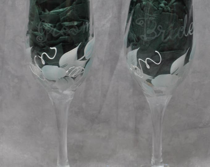 "8"" Swirl glass toasting flutes, light blue rosebuds, Set of 2."