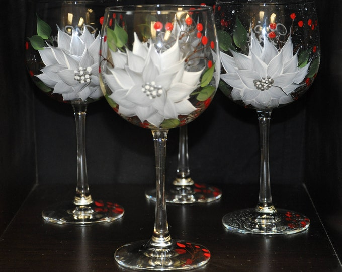 Hand Painted, White/Silver Poinsettia & Berries wine glasses, set of 4