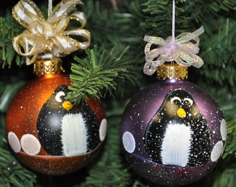 Single,  hand painted Penguin ornament