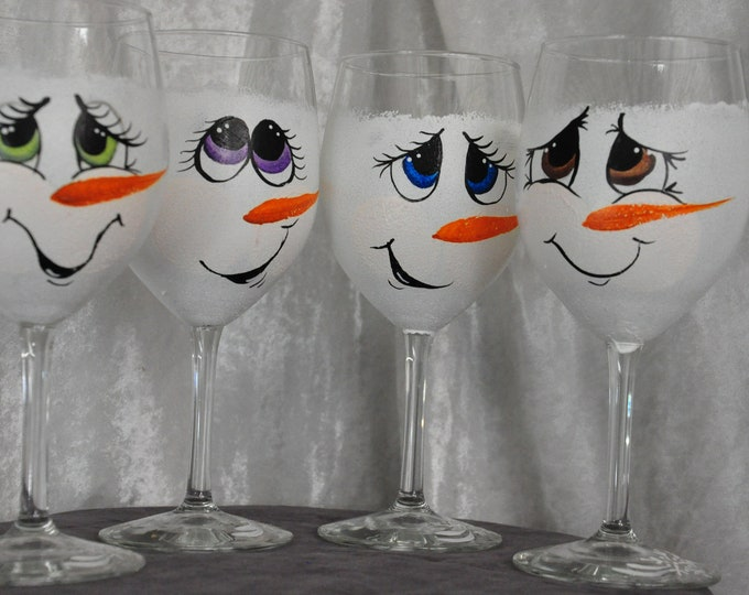 Hand Painted,Snowman Face wine glasses, set of 4